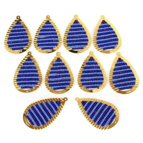 Gold Plated Miyuki Seed Beads Drop Earring Components Charms Blue 42x19mm, Pack Of 10 Pcs