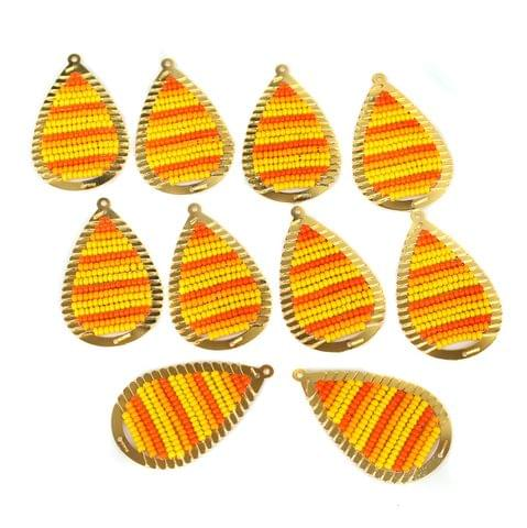Gold Plated Miyuki Seed Beads Drop Earring Components Charms Yellow 42x19mm, Pack Of 10 Pcs