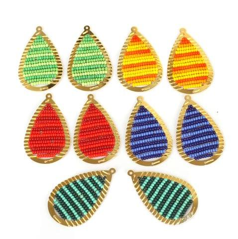Gold Plated Miyuki Seed Beads Drop Earring Components Charms Multi 42x19mm, Pack Of 10 Pcs