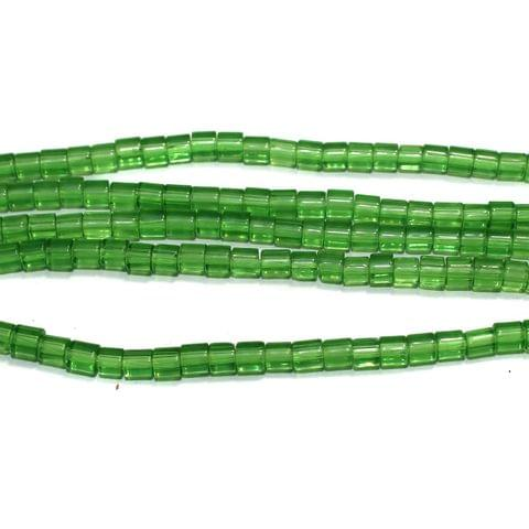 Glass Beads Tyre 4mm Green, Pack Of 5 Strings