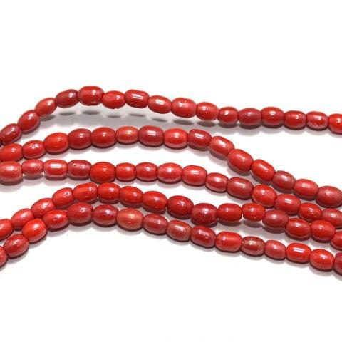 Fire Polish Glass Beads Oval Dark Orange 6x4 mm, Pack Of 5 Strings
