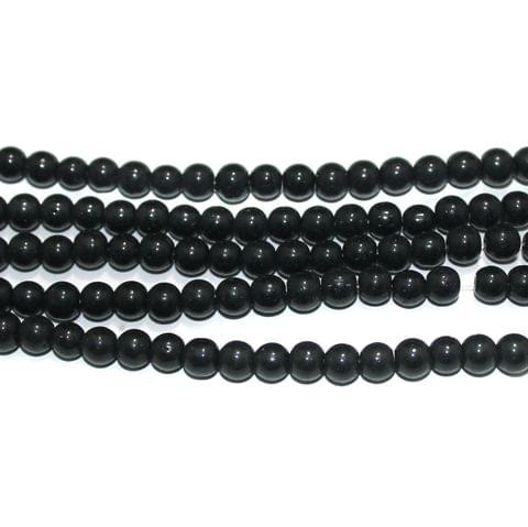 Round Glass Beads Black 6 mm, Pack Of 5 Strings
