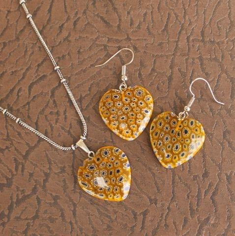 Milifiori Yellow Heart Pendant Set
