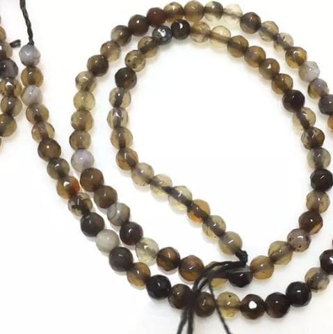Shaded Brown Color Agete Beads 4mm, 2 Strings