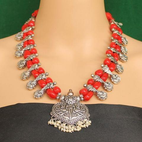 Ethnic Red Oxidised Handmade Necklace
