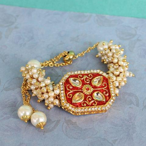Jasmin Kundan Bracelets Red