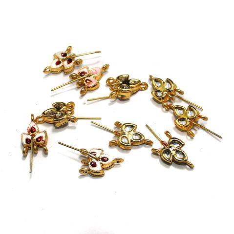10 Pcs Kundan Earring Components, Size 20x10 mm