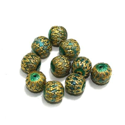10 Pcs Meenakari Beads, Size 12 mm