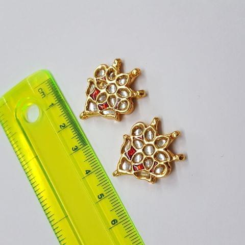Kundan meenakari designer red spacer, 29x21mm, 1 pair