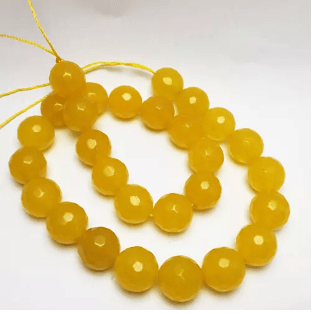 Agate Beads Golden Yellow Color Round Faceted Size 12MM, 2 Strings