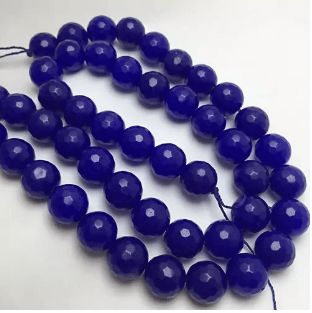 Agate Beads Blue Color Round Faceted Size 12MM, 2 Strings