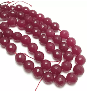 Agate Beads Rubi Color Round Faceted Size 12MM, 2 Strings