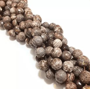 Agate Beads Texture Brown Color Round Faceted Size 12MM, 2 Strings