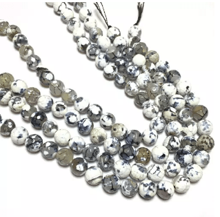 Gray Shaded Agete Beads 12MM 2 String