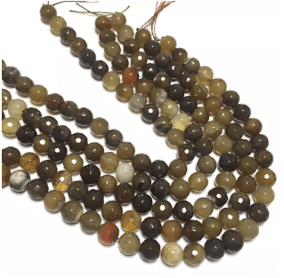 Brown Shaded Agete Beads 12MM 2 String