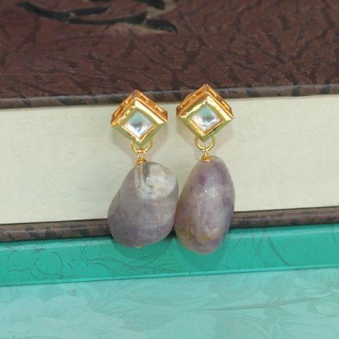 Purple Kundan Onyx Stone Earring