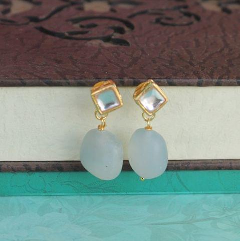 Sky Blue Kundan Onyx Stone Earring