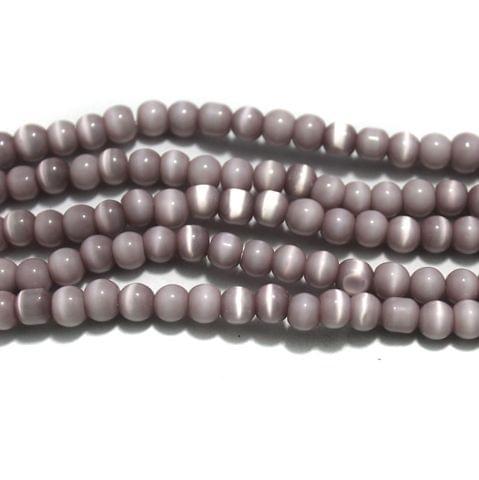 5 Strings Cat's Eye Round Beads Purple 6 mm