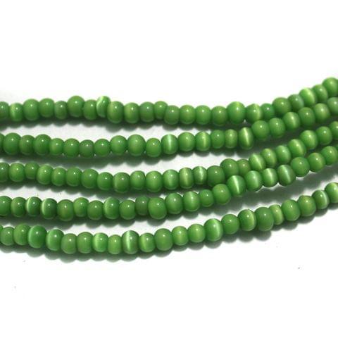 5 Strings Cat's Eye Round Beads Green 4 mm
