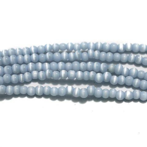 5 Strings Cat's Eye Round Beads Sky Blue 4 mm