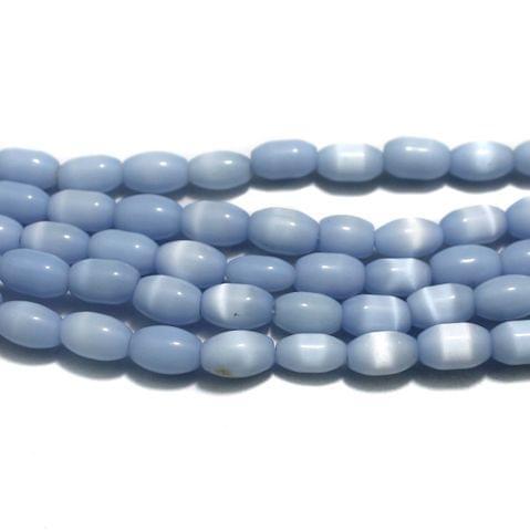 5 Strings Cat's Eye Oval Beads Sky Blue 10x7 mm