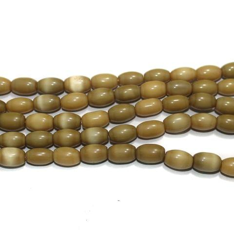 5 Strings Cat's Eye Oval Beads Light Brown 10x7 mm