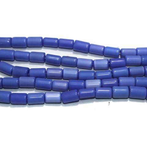 5 Strings Cat's Eye Tyre Beads Blue 10x6 mm