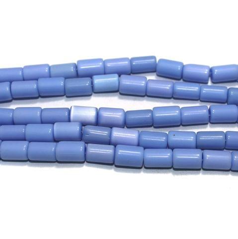 5 Strings Cat's Eye Tyre Beads Light Blue 10x6 mm