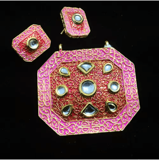 Pink Color High Quality Kundan Pendant With Meenakari Work