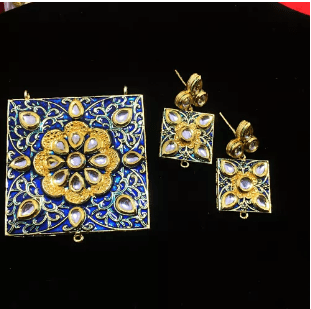 Blue Color High Quality Kundan Pendant With Meenakari Work