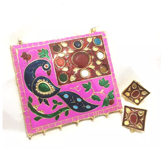 High Quality Jadau Pendant With Meenakari Work Pink Color 3.5' Inches 1 Set (Pendant With Earring)