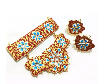 High Quality Kundan Pendant With Meenakari Work Red With Blue Color 3' Inches 1 Set (Pendant With Earring)