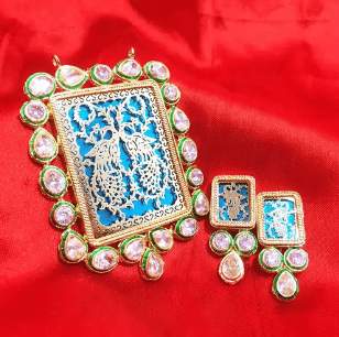 Rajasthani Thewa Work Pendant Peacock Green Color 3X2.5' Inches 1 Set (Pendant With Earring)