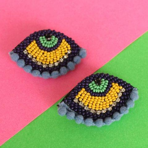 Pompom Grey Evil Eye Earring