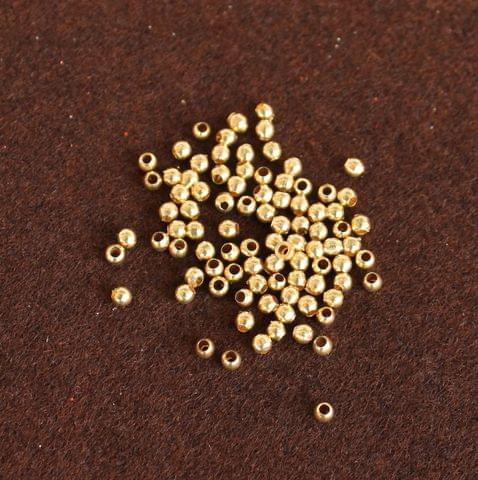 500 Pcs Solid Brass Round Beads Golden 2.5mm