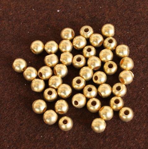 250 Pcs Solid Brass Round Beads Golden 8mm