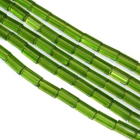 5 Strings Glass Tube Beads 12x8mm Parrot Green