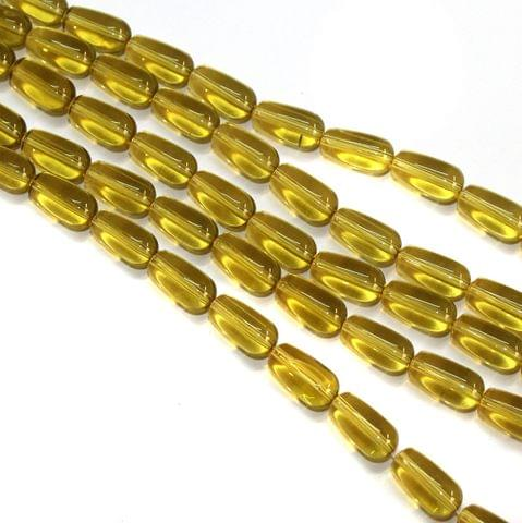 5 Strings Glass Drop Beads 12x8mm Yellow