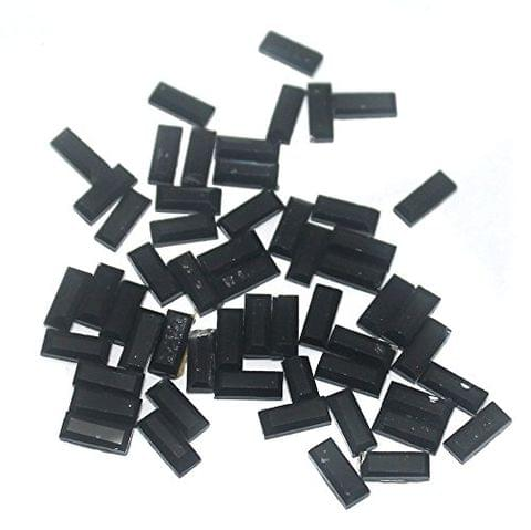 50 Gms Glass Mirror Beads Rectangle Shaped Black, Size 8x4mm