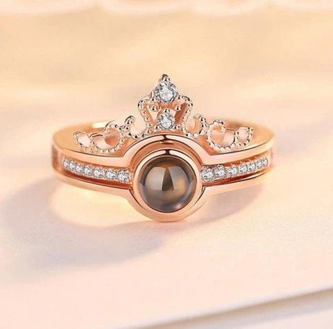 I Love You' in 100 Different Languages Ring Rose Gold