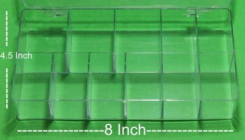 Acrylic Beads Storage Box 11 Cavity 2 Pcs, 8x4.5 Inch