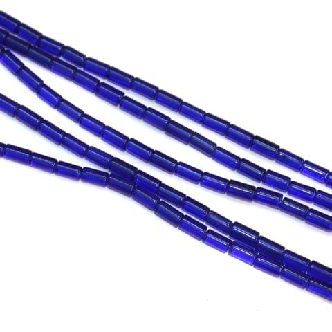 5 Strings Glass Tube Beads Blue 4x8mm