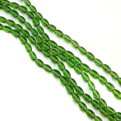 5 Strings Glass Oval Beads Green 12x8mm