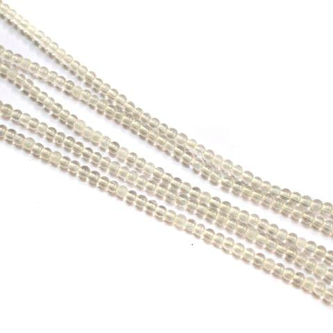 5 Strings Glass Round Beads 3mm Trans White