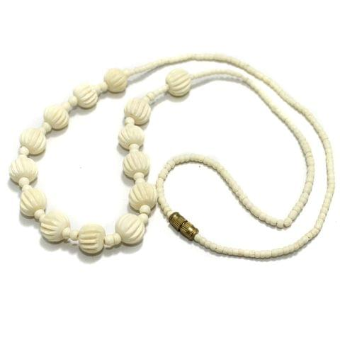 Bone Beads Necklace White 23 inch