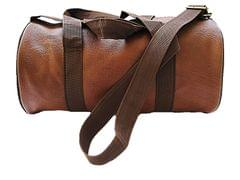 TDL Dark Brown Leather Sports and Duffle Fitness Gym Bag