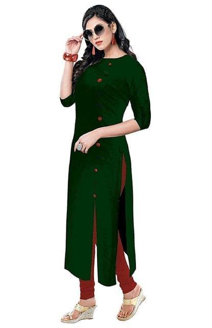 Designer Rayon Women Ethnic Wear Kurtis (Green)