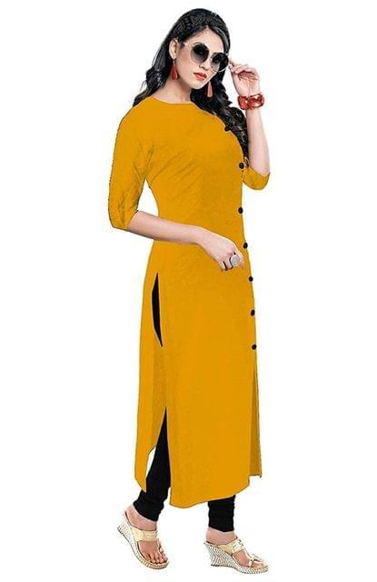 designer Women's rayon Straight Kurtis (mustard)