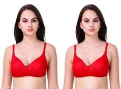 Women's Full Coverage Hosiery Full Cup Bra Vivid Red (Pack2)