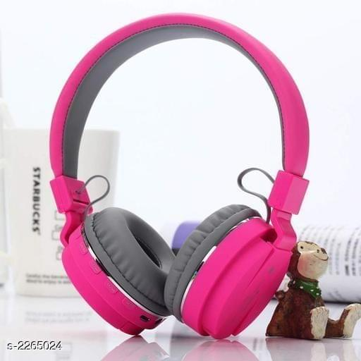 Wireless & Bluetooth Headphone with FM and SD Card Slot with Music and Calling Controls (Pink)